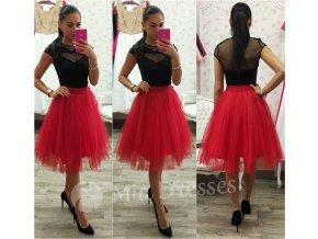 Červená midi tylová tutu sukňa