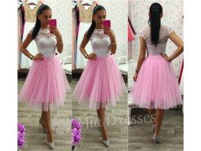 Ružová midi tylová tutu sukňa