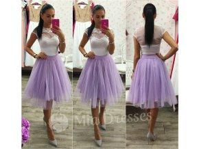 Fialová midi tylová tutu sukňa