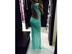 Mentolové čipkované šaty s odhaleným chrbtom