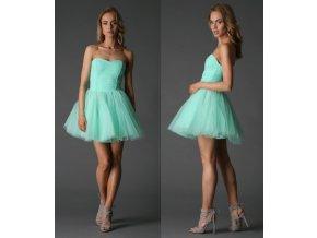 Mentolové spoločenské šaty s tylovou sukňou