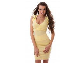Žltá sukňa s vysokým pásom