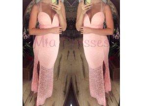 Ružové čipkované šaty s hlbokým výstrihom