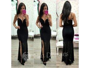Čierne čipkované šaty s hlbokým výstrihom
