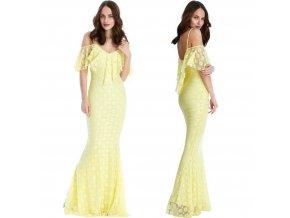 Žlté spoločenské šaty s volánom