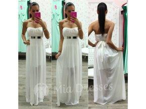 Smotanové spoločenské šaty s kovovou aplikáciou