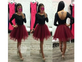 Bordová krátka tylová tutu sukňa