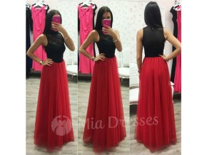 Červená dlhá tylová sukňa