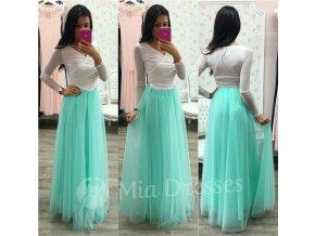 Mentolová dlhá tylová sukňa
