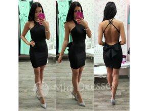 Čierne krátke šaty s mašľou