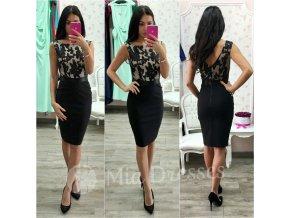 Čierno-béžové šaty s flitrami