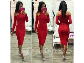 Červené midi šaty s odhalenými ramenami