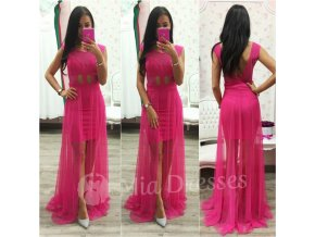 Cyklaménové šaty s dlhou tylovou časťou