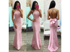 Ružové spoločenské šaty s mašľou
