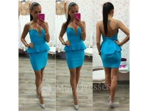 Modré peplum šaty