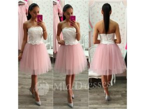 Bielo-ružové šaty s tylovou sukňou