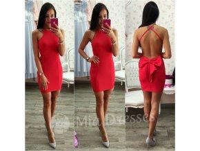 Červené krátke šaty s mašľou