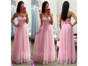 Ružové spoločenské šaty s kamienkami