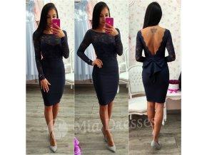 Tmavomodré krátke šaty s mašľou