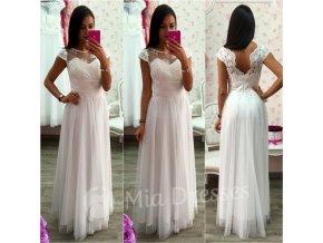 Biele dlhé spoločenské šaty