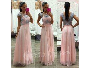 Ružovo-sivé dlhé spoločenské šaty