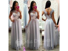 Bielo-sivé dlhé spoločenské šaty