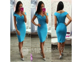 Tyrkysové  krátke priliehavé šaty