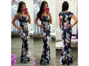 Tmavomodré kvetinové spoločenské šaty