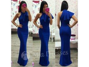Modré spoločenské šaty s volánom