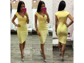 Žlté krátke šaty s výstrihom