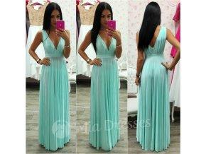 Mentolové spoločenské šaty s plisovanou sukňou