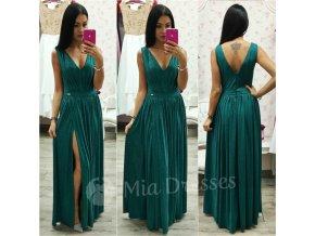 Smaragdové trblietavé spoločenské šaty