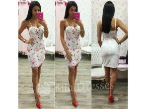 Biele kvetinové mini šaty