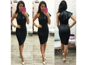 Čierne midi šaty s volánom