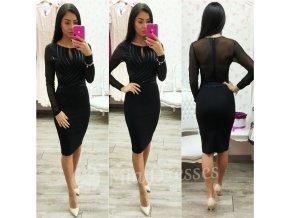 Čierne šaty s pásmi