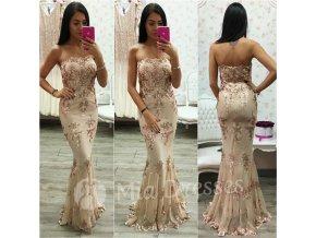Béžovo-zlaté spoločenské šaty s flitrami