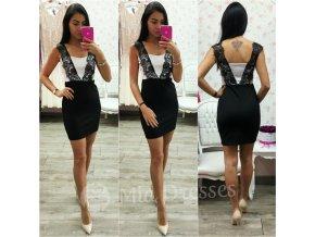 Čierno-biele mini šaty s čipkou