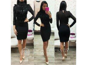 Čierne krátke šaty s pierkami
