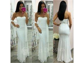 Biele spoločenské šaty s flitrami
