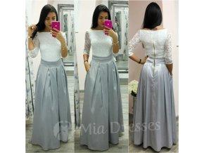 Sivá dlhá saténová sukňa