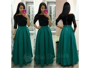 Smaragdová dlhá skladaná sukňa