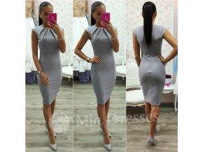 Sivé priliehavé midi šaty