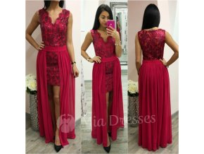 Malinové šaty s odnímateľnou sukňou