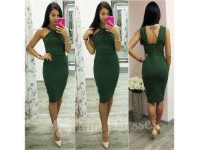 Olivové midi šaty