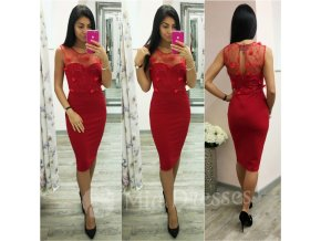 Červené midi šaty s tylom