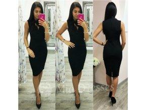 Čierne midi šaty s viazaním okolo krku