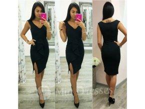 Čierne midi šaty s mašľou