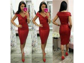 Červené midi šaty s flitrami