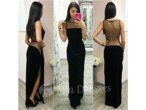 Čierne spoločenské zamatové šaty s tylom