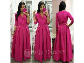 Cyklaménová dlhá skladaná sukňa